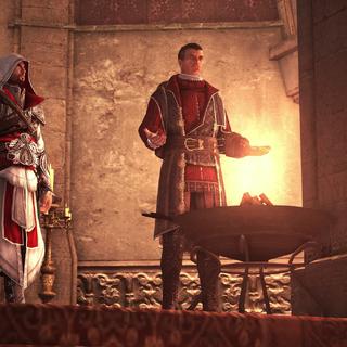 Ezio en Machiavelli staan voor een aangestoken vuurpot.