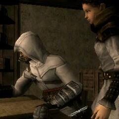 Altaïr writing the Codex