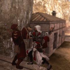 Ezio assassinant Gaspar de la Croix