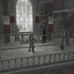 مالك (يسار) مع الطائر والمعلم، يُبلَّغون بهجوم فرسان الهيكل على مصياف.