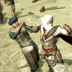 Ezio assassinant le premier garde