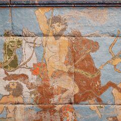 波塞冬被描绘在公元前5世纪希腊的一幅壁画中,左边是<a href=