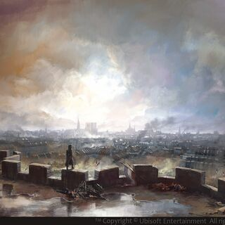 巴士底狱顶部城堞上所见巴黎之景的概念设定图