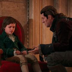 Charles rassurant Arno en lui disant l'heure de son retour
