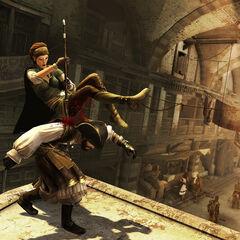 La Brigande se servant de sa lance pour tuer le Pirate