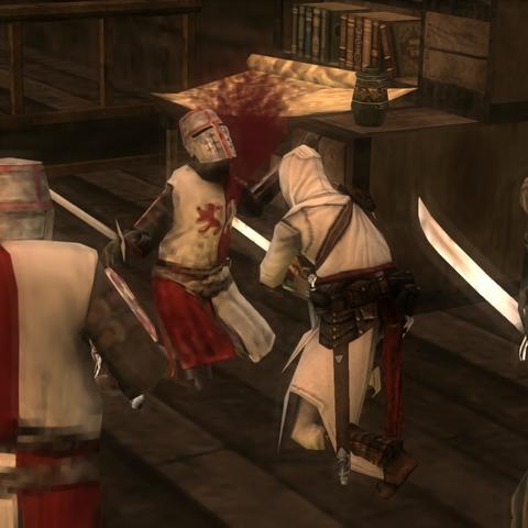 阿泰尔与船长和他的几个手下交战