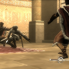 Altaïr fighting the brothers