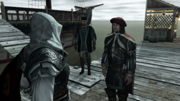 Ezio w rozmowie z Leonardo (przed podróżą do Wenecji) (by Kubar906)