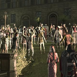 Paola, Ezio and Niccolò watching the citizen uprising