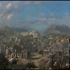 马斯亚夫村落的全景视角