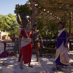 阿斯帕西娅、密里涅和提摩在纳克索斯岛的会客厅