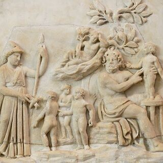 A relief depicting Prometheus' creation of mankind