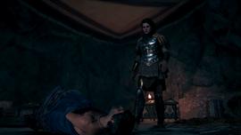 Kasandra wysłuchuje ostatnich słów Elpenora