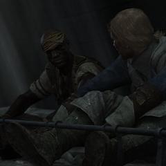 阿德瓦莱与爱德华被铐在脚镣上