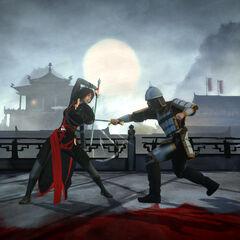 邵君与一名中国卫兵交战
