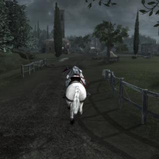 Ezio regagnant la ligne de départ à <a href=