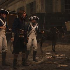 Bonaparte emmené par la garde