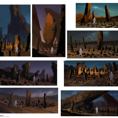 Early concept art of the Stone Circles