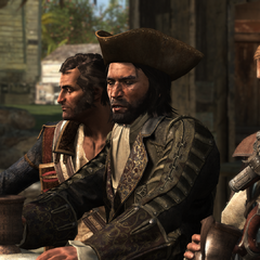Hornigold, <b>Thatch</b> et Kenway à l'Old Avery