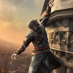 Ezio grimpe à l'aide du <b>crochet</b>