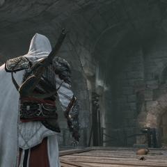 Ezio faisant face au chef de meute