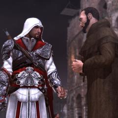 Ezio interrogeant le moine au sujet de Ristoro