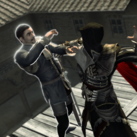 Ezio assassinant le <b>capitaine de la garde</b>