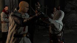 Altaïr w konfrontacji z Robertem.