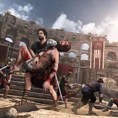 Ezio transportant Pietro Rossi hors du Colisée