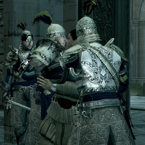Les gardes arrêtant le marchand