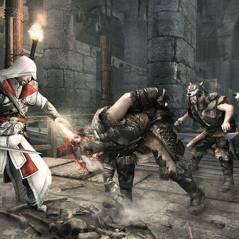 Ezio se battant dans les <b>égouts</b>