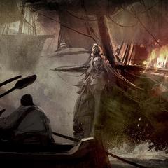 一個着火的海盜船的藝術設定