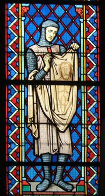 Geoffroy de Charny avec une représentation du Suaire
