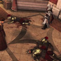 Claudia met de vermoordde wachters.
