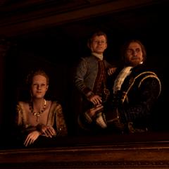 Le jeune <b>Haytham</b> dans les bras de son père et sa sœur Jenny