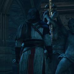 Le conseiller replaçant l'Épée d'Éden sur la statue