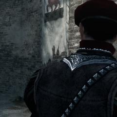 Les gardes remarquant la présence d'Ezio