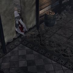Ezio gaat de basiliek binnen.