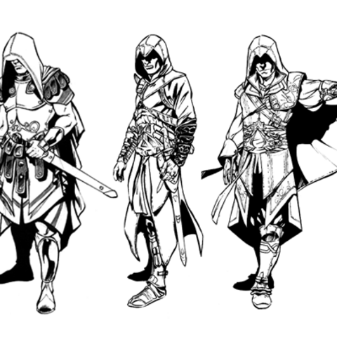 Aquilus, Altaïr, and Ezio sketches