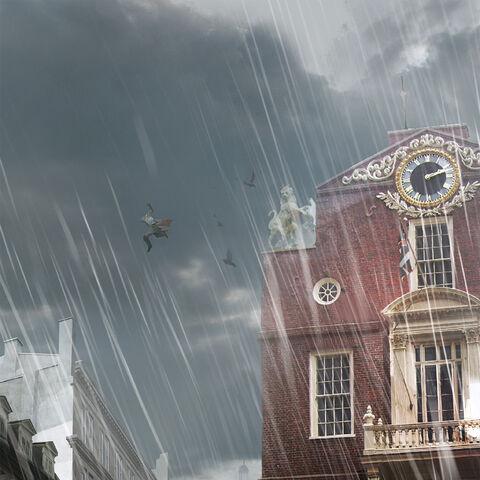 拉通哈给顿从旧州议会大厦屋顶跳到另一屋顶这一场景的概念设定图