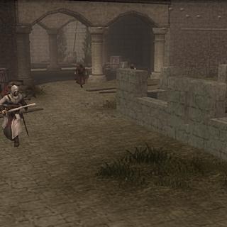 Altaïr prenant la fuite sur les remparts du <b>château</b>