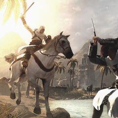 Altaïr affrontant un Templier à cheval