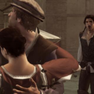 Ezio surprenant Duccio aux bras d'une autre femme