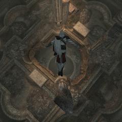 Ezio plongeant au niveau inférieur
