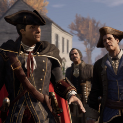 Haytham met Charles Lee en Thomas Hickey.
