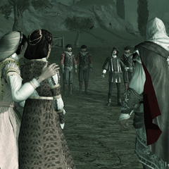 Vieri et ses hommes tendant une embuscade à Ezio et sa famille