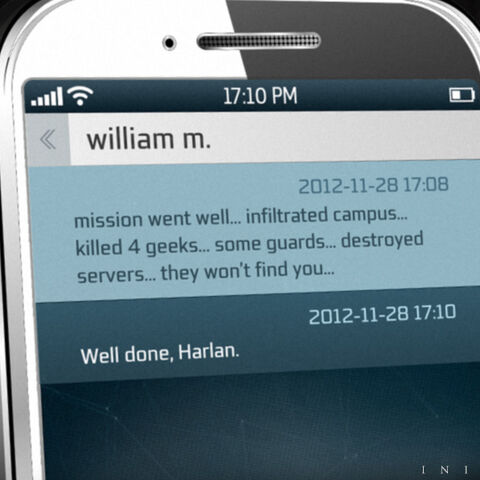 Harlan's text message to William