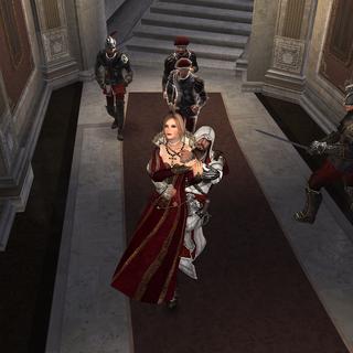 Ezio brengt Lucrezia naar de cel van Caterina.