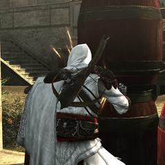 Ezio mettant le feu aux poudres