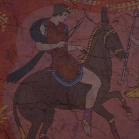 一幅公元前5世纪的描绘赫菲斯托斯的壁画,画中赫菲斯托斯手持钳子,骑着<a href=